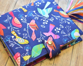 Planner Cover - in Michael Miller Flock Birds fabric -F2