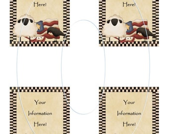 Americana label, card, tag, hang tags, 4 x 3 inch each, print 4 to a sheet, pdf and jpeg, customized, your information, printable, prim