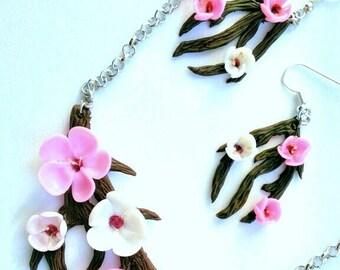 flowers pendant, flowers earrings, blossom pendant, bride pendant, rustic pendant, bridesmaids pendant, pink pendant, rustic wedding, gift