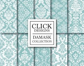 "Damask Digital Paper: ""DAMASK TEAL GREEN"" digital papers with teal green vintage elements, for scrapbooking, invites, carts, crafts"