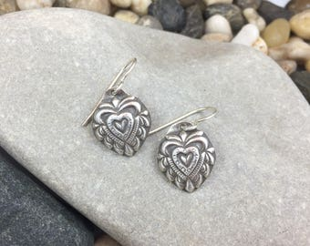 Hanging earrings, heart shaped domed and patterned by stamping textures by hand