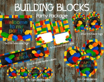 Building Blocks Party Package, Building Blocks Birthday Party, Building Blocks Party supplies, Building Blocks Printable Party Decorations