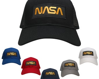 NASA Worm Gold Text Embroidered Iron On Patch Snapback Trucker Mesh Cap (30-287-PM302)