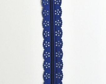 "Blue Lace Zipper - 8"" Zippers - Lace Zippers - Bag Zippers - Purse Zippers - Sewing Zippers - YKK Zippers - Sewing Notions - Dress Zippers"