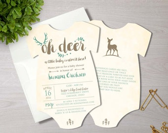 Oh Deer Baby Shower Invitation | Woodland Invitation | Printed Die Cut Invitation | Baby Bodysuit | Hunting Baby Shower | Little Buck Invite