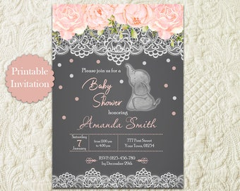 Elephant Girl Baby Shower Invitation, Pink Elephant Baby Shower Invitation, Jungle Baby Shower Invitation, Elephant Girl Baby Shower Invite