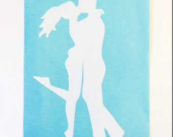 Kissing Couple Vinyl Decal You Pick the Color