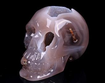 Natural White Agate Geode Quartz Crystal Cluster Carved Skull ,Healing Skull S031