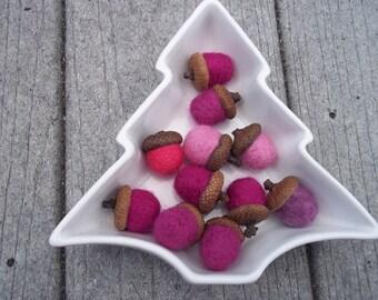 Acorns Needle Felted Pink Magenta