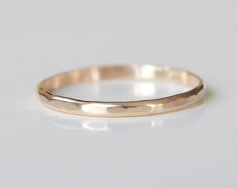 14k Solid Gold Textured Ring - Recycled Wedding Band - Gold Wedding Band - Dainty Ring Band - Modern Wedding Band - Organic Stacking Ring