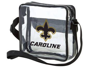 Monogrammed Clear Cross-Body Messenger Stadium Bag