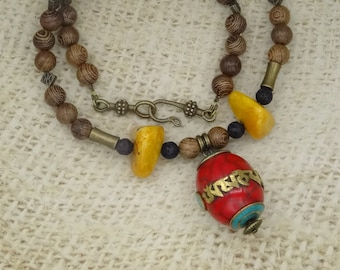 Ethnic necklace beads Tibetan copal amber wood Redwood mantra