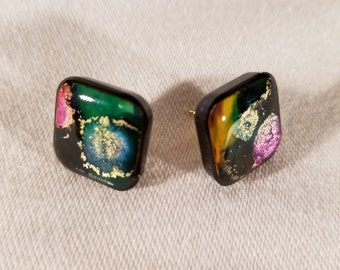 Abstract Multi-Colored Ink and Resin Design Stud Earrings