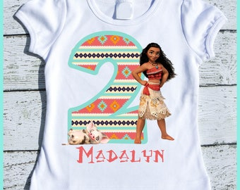 Custom Personalized Moana Birthday tee shirt