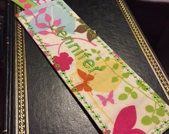 Personalized Fabric Bookmark- Great for teacher gift, book worm, choose fabric color scheme, party favor, librarian gift, unique & beautiful