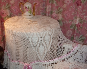 very large vintage crochet lace tablecloth. shabby
