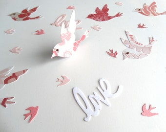 Love Bird Confetti, Wedding Decor, Garden Party, Bridal Shower Decor, Unique Layered Bird Confetti, Baby Shower Decor, 3D Paper Birds
