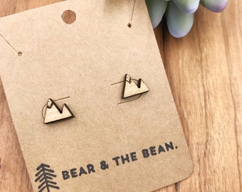 Mountain Wood Earrings / Minimalist Earring Studs
