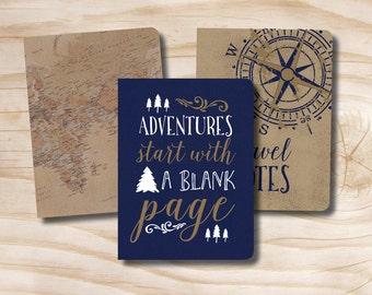 Set of 3 field notebooks Notepads Travel Compass World Map Adventure