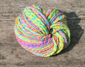 Handspun super bulky yarn, 2 ply,  in hand dyed merino  wool - 40 yards, 2.6 ounces/ 74 grams