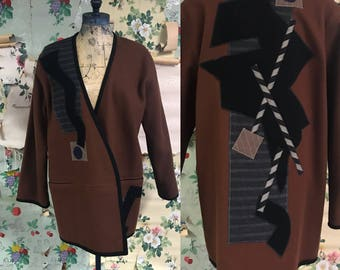 VTG 1980s beppa Wool Abstract Geometric Oversized Jacket. Small. Brown, shapes. Art School.