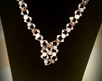 After Life Accessories Repurposed SP Pearls & Diamonds Statement Necklace