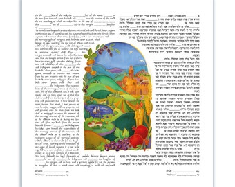 custom KETUBAH silk painting - Ketubahs - handmade - Jewish wedding Contract - Jewish Marriage - wedding vows - Israel landscape