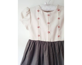 GABI cotton dress for girl, two tone beige and grey, with embroidery handmade, ribbons to tie in the back.