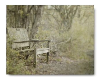 Green Landscape Print, Woods, Landscape, Bench, Path, Fine Art Photography, canvas wall art, forest print,