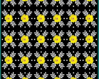 Daisies on Black Fabric / Daisy Geo Fabric / Kanvas 08738 Daisy Flower Fabric / 100% Cotton / Floral Yardage & Fat Quarters