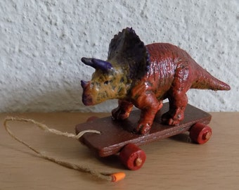 Dollhouse Miniature Dinosaur Pull Toy, 1:12 scale, Toy on Wheels for Dollhouse, Inch Scale Miniature, Dollhouse Miniature Toy