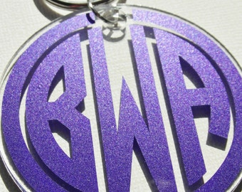 "GLITTER monogram acrylic key chain 3"""