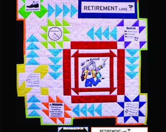 "RETIREMENT LANE Panel and Pieced Quilt Pattern by Block Party - 34"" x 36"""