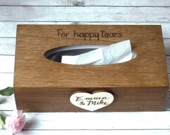 Wooden Tissue Box, Tissue Cover, Wedding Gift Anniversary Gift, Engraved Wooden Kleenex Box Holder Wood, Gift for Couple Bride and Groom Box