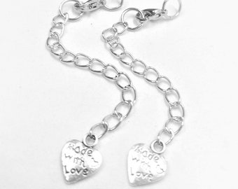 5 Silver Tone Extension Chains with Dangling Heart Made With Love -