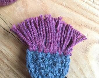 Scottish thistle hand crocheted brooch