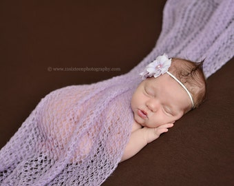 Soft Lilac Mohair Knit Baby Wrap Newborn Photography