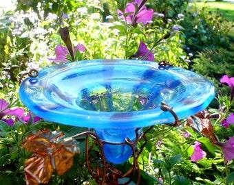 Striped BUTTERFLY FEEDER, Bird Feeder, stained glass, Aqua and Blue, Garden Decor