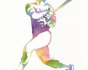 Baseball Print, Baseball Wall Art, Sports Athlete Watercolor, Sport Painting,Man Boy Dad Room Decor,Baseball Home Decor,Baseball Sports Gift