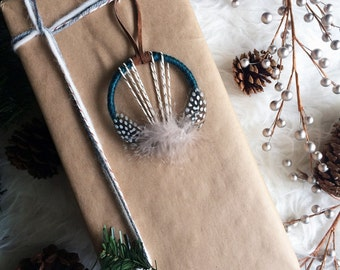 Unique Gift Ideas, Mini Dreamcatcher, Bohemian Christmas Decoration, Modern Rustic Christmas Ornament, Modern Boho Dream Catcher Ornament