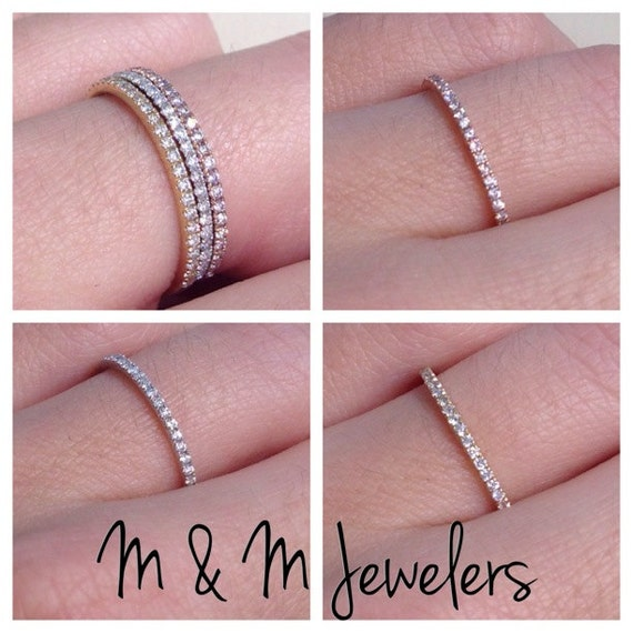 14K White,Yellow, and Rose Gold Pave Set Round Brilliant Cut Diamond Stacking Bands