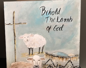 Behold Manger Cross Sheep 10x10 Acrylic Painting gallery wrapped canvas