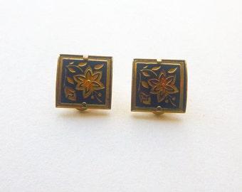 Damascene floral goldtone clip back mid-century square earrings