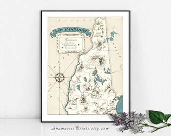 NEW HAMPSHIRE MAP - vintage picture map print to frame - fun gift for many occasions - size & color choices - personalize it - wall decor