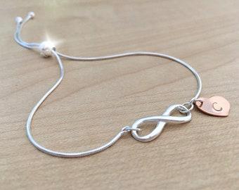 Personalised Infinity Slider Bracelet, Silver Bracelet with Infinity Symbol and Rose Gold Heart Charm, Dainty Personalised Tassel Bracelet