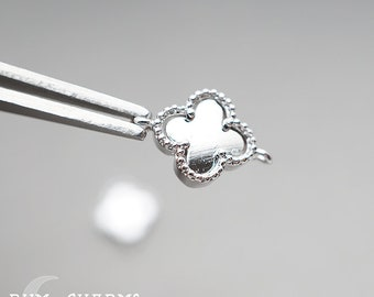 0680 - Pendant Connector, Glossy Original Rhodium Plated, Four Leaf Clover Connector Pendant, 2Pieces