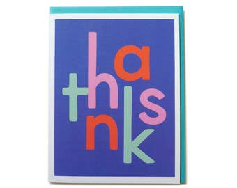 Thank You Card, Thank You Card Set, Thank You Notes, Thank You Friend Card - Mod Thanks