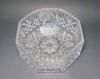 Vintage Cut Lead Crystal Fan and Floral Octagon Bowl, Octagon Cut Crystal Bowl, Floral Cut Lead Crystal Bowl, Heavy Lead Crystal Bowl