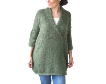 Hand Knitted Sweater, Plus Size Jumper, Over Size Sweater, Hand Knit Jumper, Woman Jumper, Slouchy Sweater, Green Wool Sweater