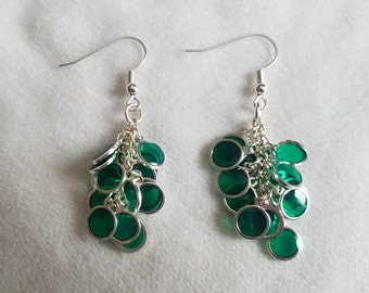 Green & Silver Circle Cluster Earrings
